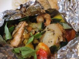 魚介と野菜のバジル醤油ホイル焼き
